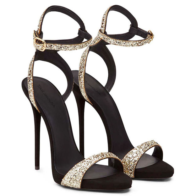 Women's Sparkling Glitter With Buckle Heels SlingBacks Fashion Shoes