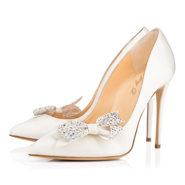 Women's PU With Rhinestone/Bowknot Close Toe Heels Fashion Shoes