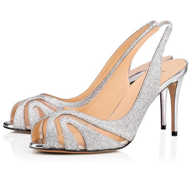 Women's Sparkling Glitter SlingBacks Peep Toe Heels Fashion Shoes