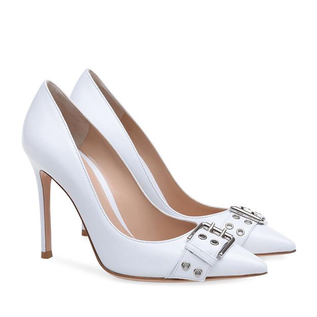 Women's PU With Buckle Close Toe Heels Fashion Shoes