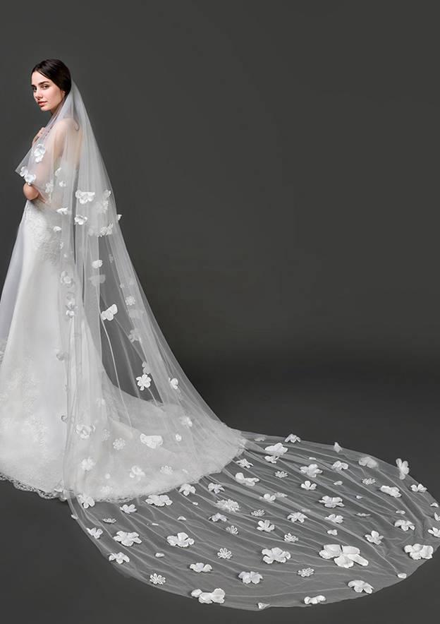 Two-tier Lace Applique Edge Tulle Chapel Bridal Veils With Applique/Lace