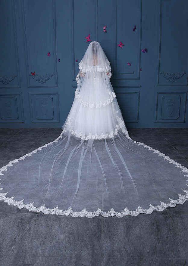 Four-tier Lace Applique Edge Tulle Cathedral Bridal Veils