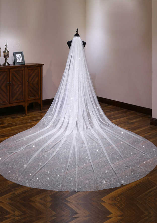 One-tier Cathedral Bridal Veils With Sparkling Glitter