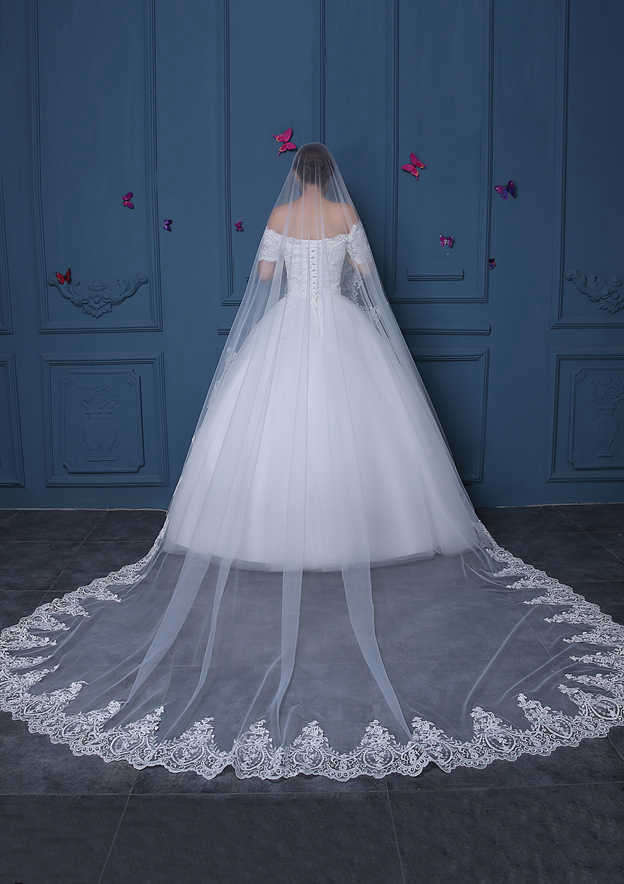 One-tier Lace Applique Edge Tulle Cathedral Bridal Veils