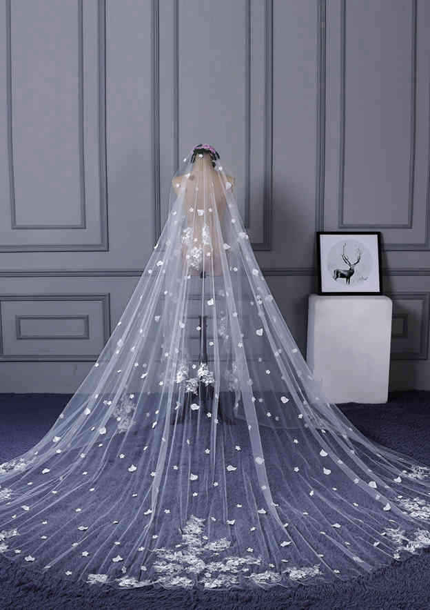 One-tier Lace Applique Edge Tulle Cathedral Bridal Veils With Petal