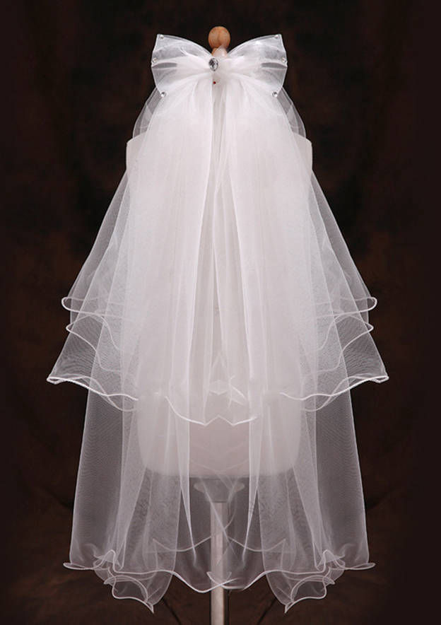 Two-tier Tulle Fingertip Bridal Veils With Rhinestones/Bowknot