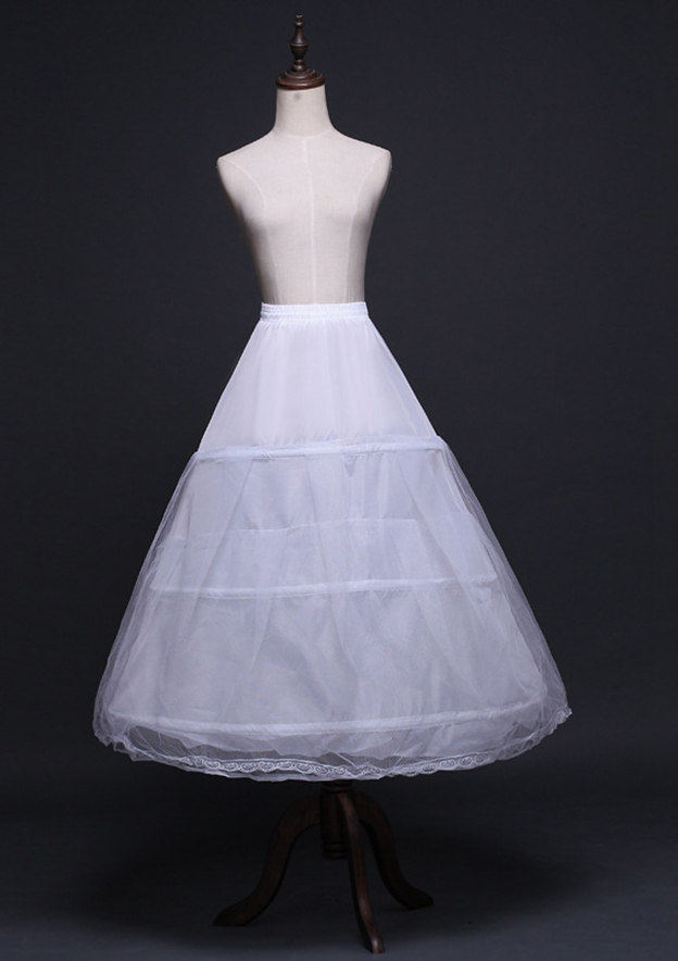 Women Polyester Tulle Netting Tea-length 2 Tiers Bridal Petticoats