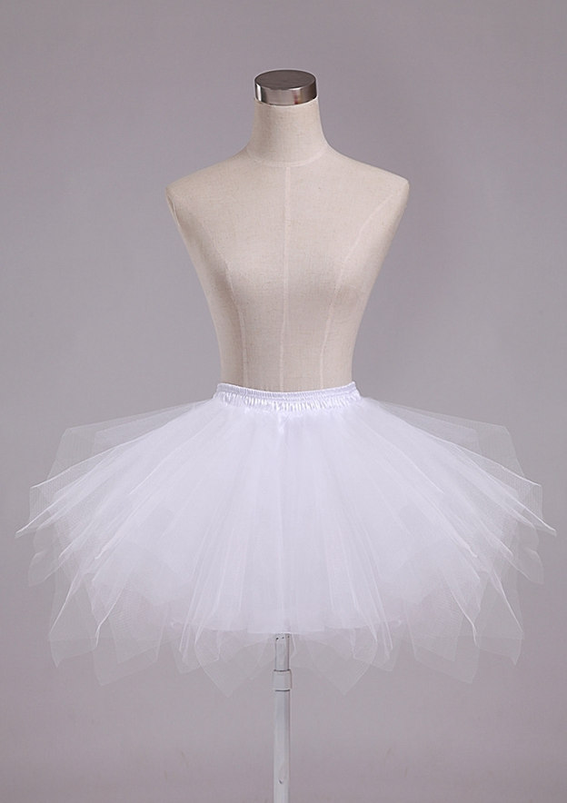 Girl Polyester/Tulle Netting Short/Mini 4 Tiers Bridal Petticoats