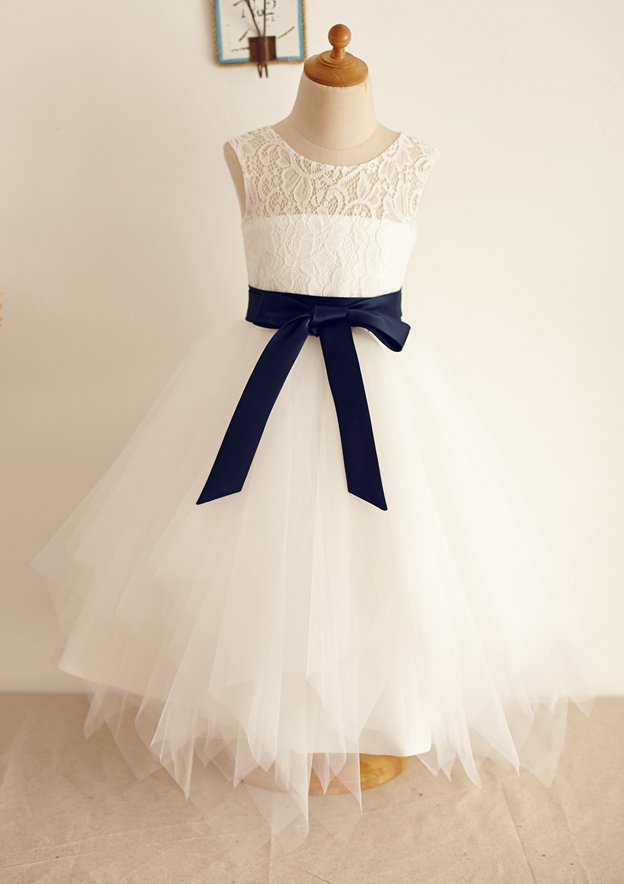 A-line/Princess Tea-Length Scoop Neck Sleeveless Lace/Tulle Flower Girl Dress With Sashes
