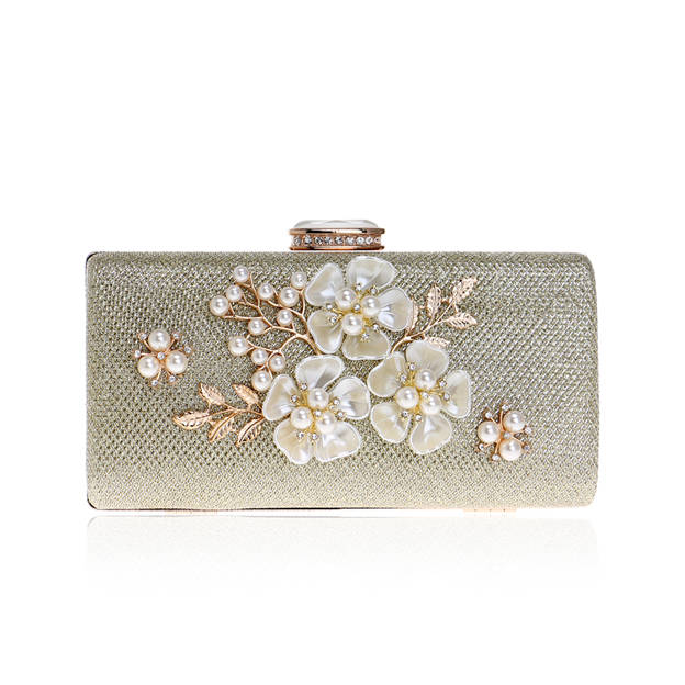 Beautiful Polyester/Alloy Clutches/Evening Bags With Flower