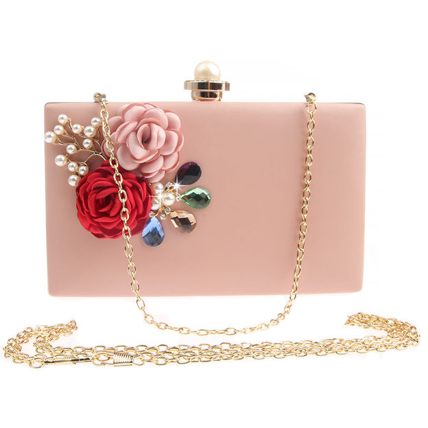 Charming PU Clutches With Flower/Imitation Pearls