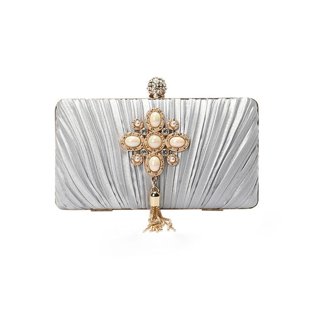 Attractive Suede Clutches/Evening Bags With Tassel/Pleated
