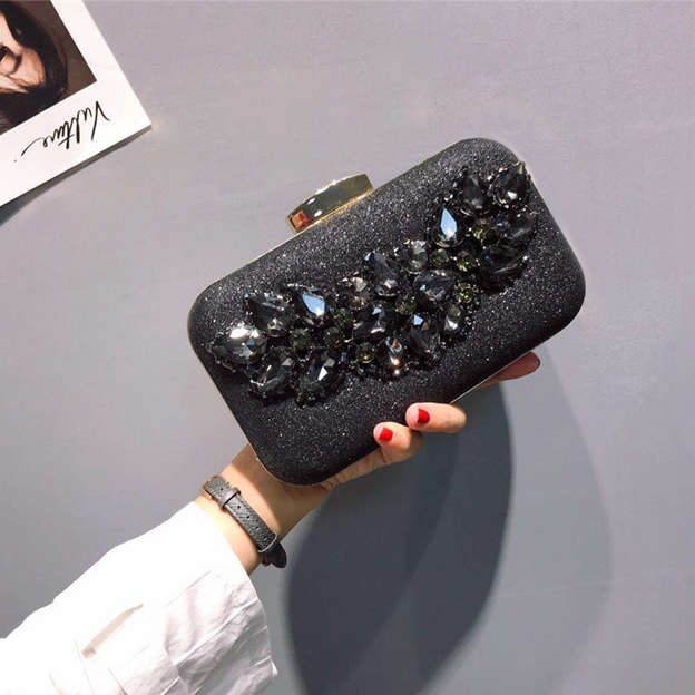 Artistic Polyester Clutches/Evening Bags With Crystal