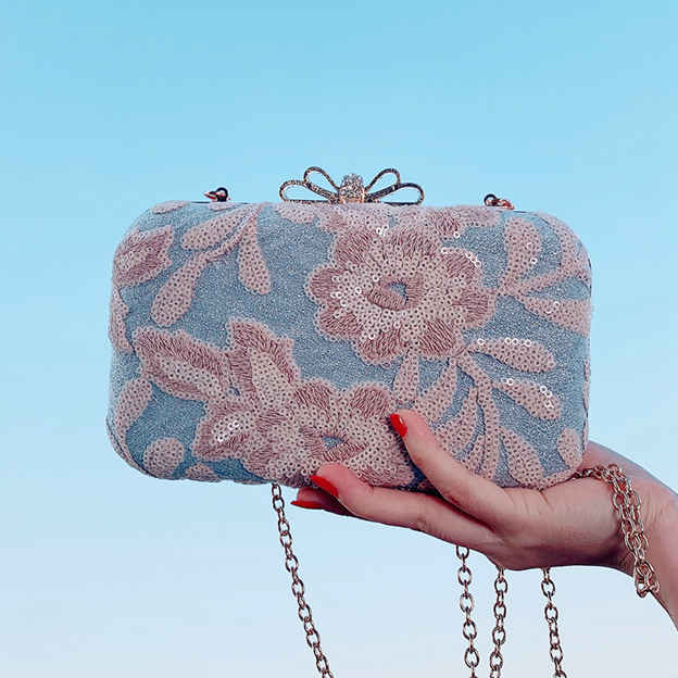 Beautiful Polyester Clutches With Flower