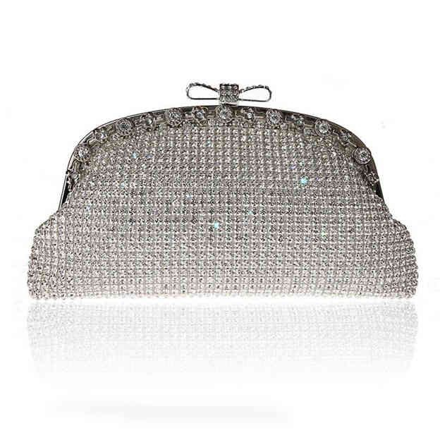 Attractive Rhinestone Clutches/Evening Bags With Bowknot