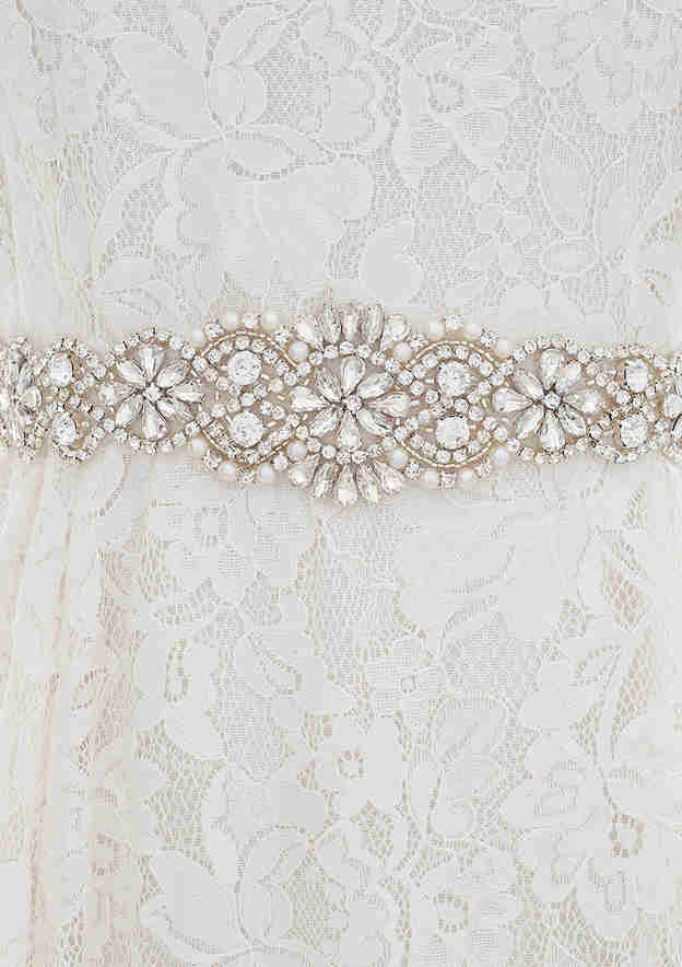 Attractive Satin Sash With Imitation Pearls/Rhinestones