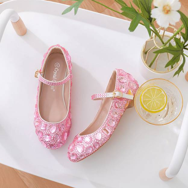 Girl's PU With Rhinestone Buckle Flats Shoes