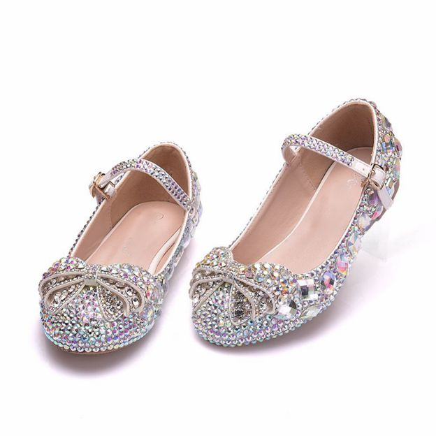 Girl's PU With Rhinestone Close Toe Shoes