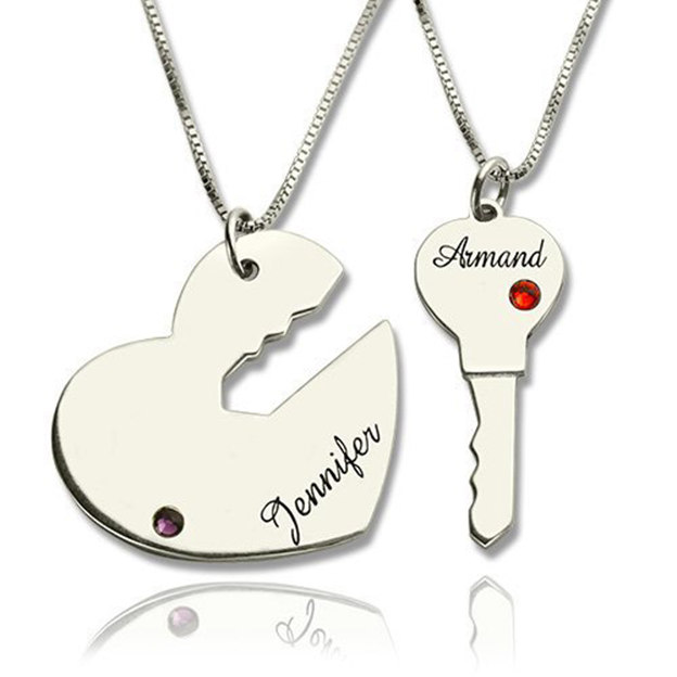 Personalized Customized 925 Sterling Silver Two Name Engraved Key Heart Irregular Necklaces