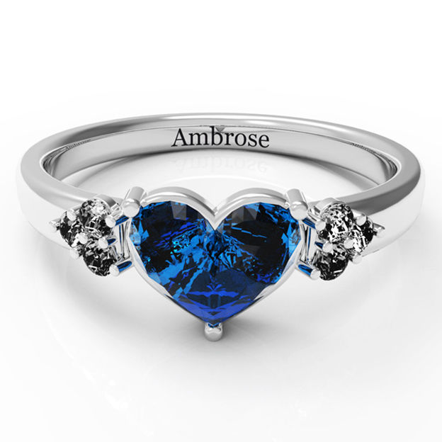 Personalized Customized 925 Sterling Silver One Name Engraved Birthstone Heart Rings Gift For Couple