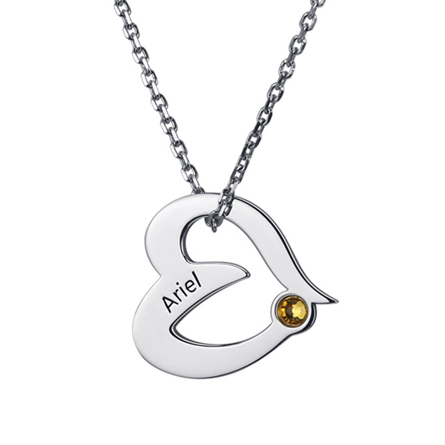 Personalized Customized 925 Sterling Silver One Name Engraved Birthstone Heart Round Necklaces