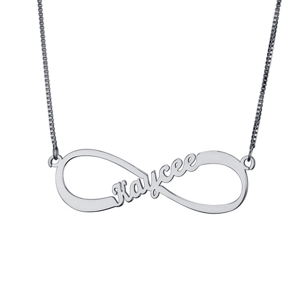 Personalized Customized 925 Sterling Silver One Name Infinity Necklaces