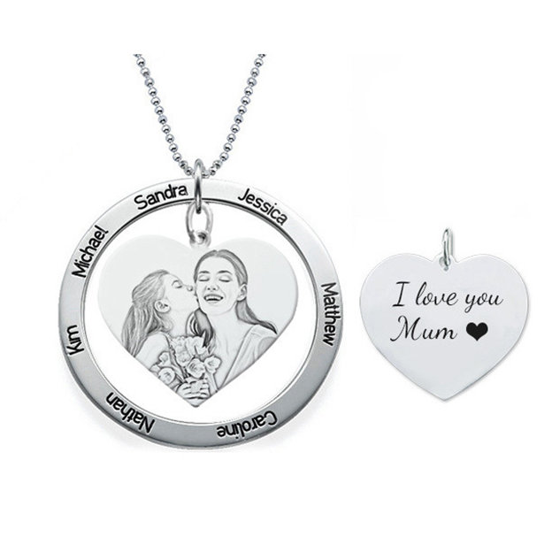 Personalized Customized 925 Sterling Silver Name Engraved Photo Circle Heart Necklaces Holiday For Family