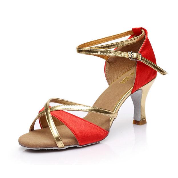 Women's PU/Satin With Buckle Heels/Peep Toe Dance Shoes