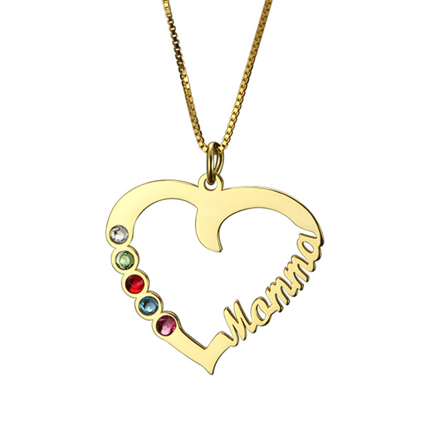 Personalized Customized 925 Sterling Silver Five Name Birthstone Infinity Heart Round Necklaces