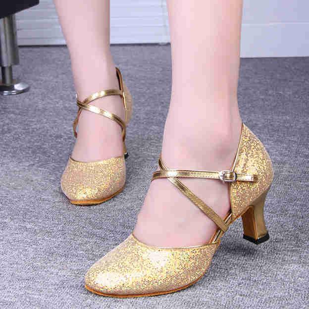 Women's Sparkling Glitter With Buckle Heels/Peep Toe Dance Shoes