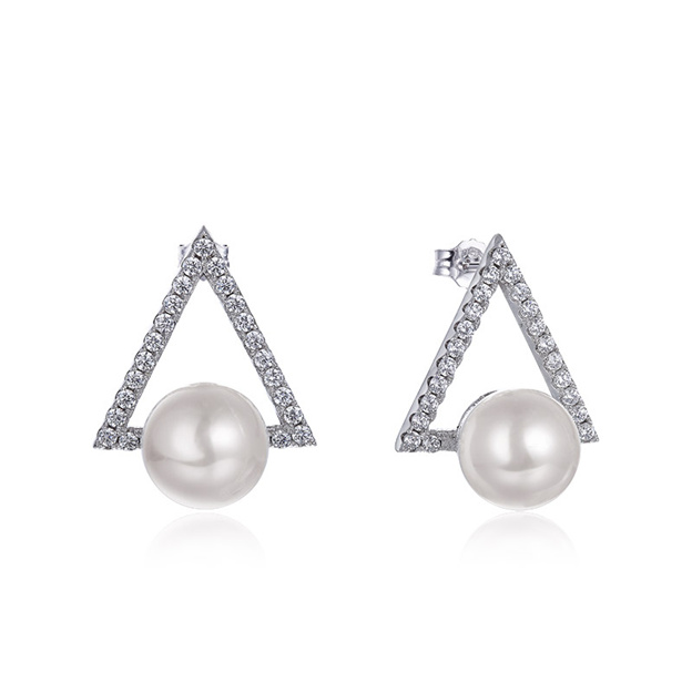 Women's Charming 925 Sterling Silver Earrings With Cubic Zirconia/Imitation Pearls For Her