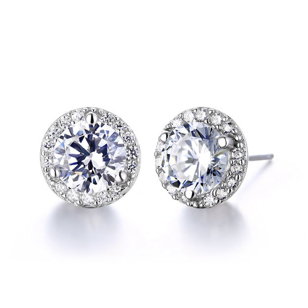 Women's Classic 925 Sterling Silver Earrings With Cubic Zirconia