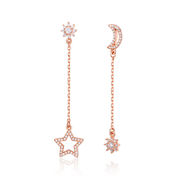 Women's Chic 925 Sterling Silver Earrings With Cubic Zirconia