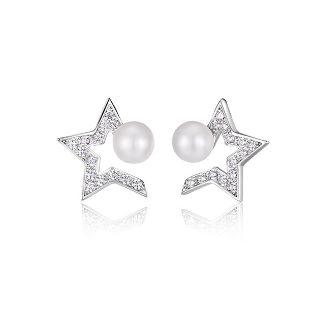 Women's Charming 925 Sterling Silver Earrings With Imitation Pearls/Cubic Zirconia For Her