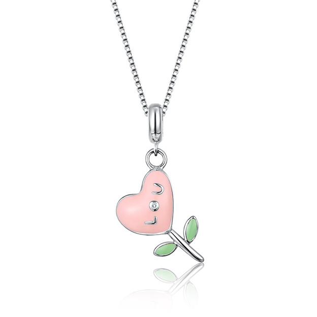 Women's Sweet 925 Sterling Silver Necklaces With Cubic Zirconia For Her