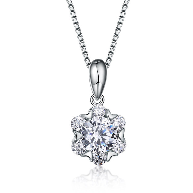 Women's Attractive 925 Sterling Silver Necklaces With Cubic Zirconia For Her