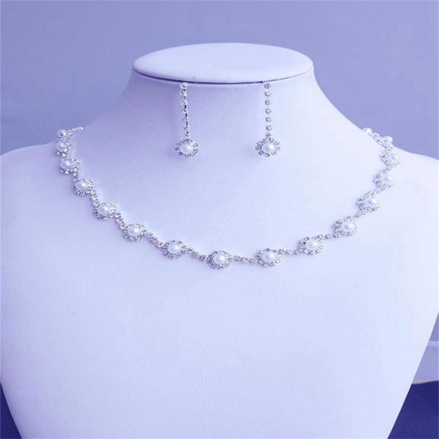 Women's Charming Silver Jewelry Sets With Imitation Pearls/Rhinestone For Bride