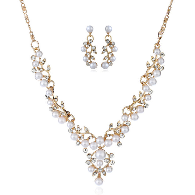 Women's Magnificent Silver Jewelry Sets With Imitation Pearls Rhinestone For Bride