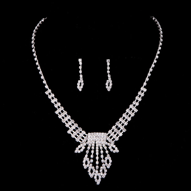 Women's Fashionable Silver Jewelry Sets With Rhinestone For Bride