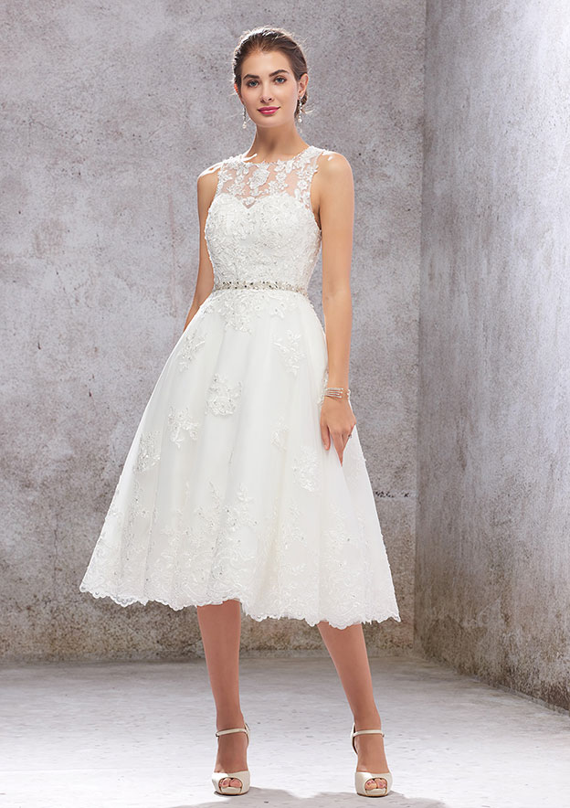 A-line/Princess Sleeveless Tea-Length Tulle Wedding Dress With Sequins/Beading/Appliqued