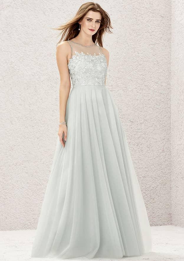 A-line/Princess Sleeveless Long/Floor-Length Tulle/Satin Bridesmaid Dress With Beading/Appliqued