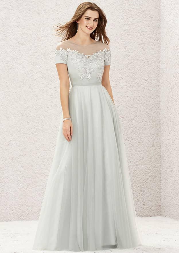 A-line/Princess Short Sleeve Long/Floor-Length Tulle Satin Bridesmaid Dress With Appliqued