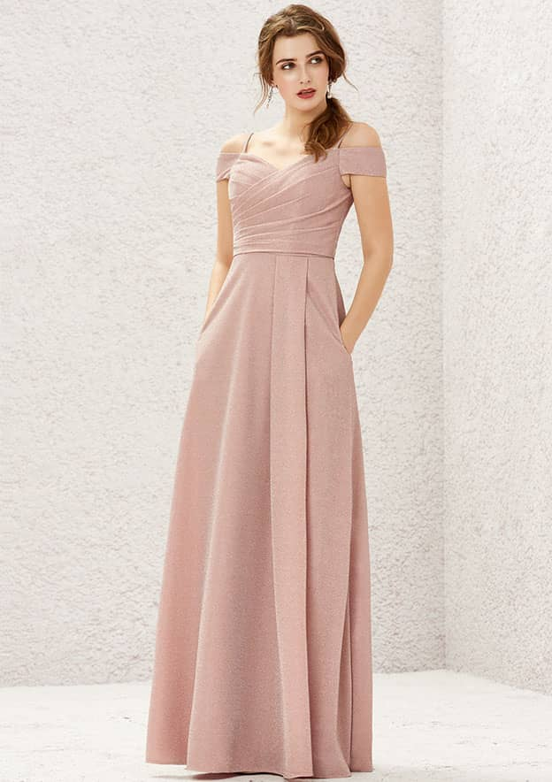 A-line/Princess Short Sleeve Long/Floor-Length Metallic/Shimmer Jersey Bridesmaid Dress With Pleated