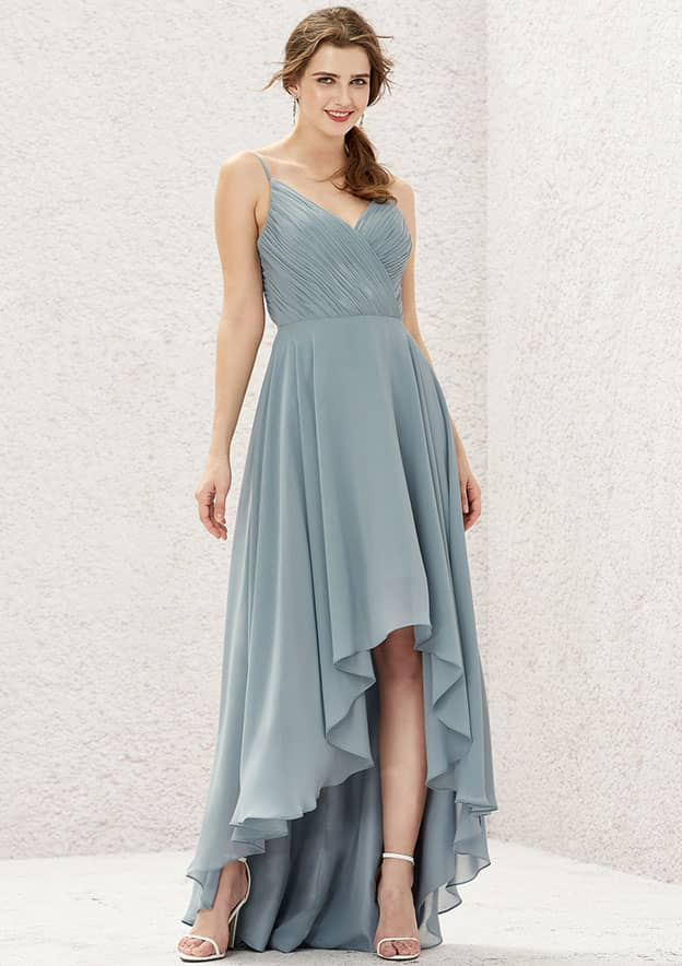 A-line/Princess Sleeveless Asymmetrical Chiffon Bridesmaid Dress With Pleated