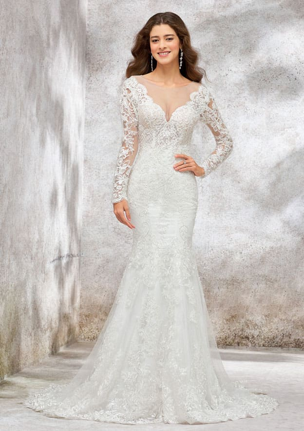 Trumpet/Mermaid Full/Long Sleeve Court Train Lace/Satin Wedding Dress With Appliqued/Beading/Sequins/Imitional Pearl