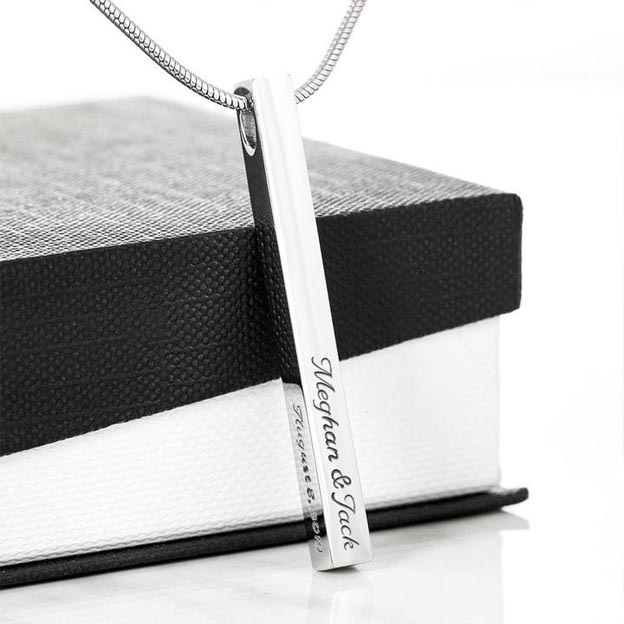 Personalized Customized Vertical Engraved Name Bar Necklace With 4 Sides Of Custom Text