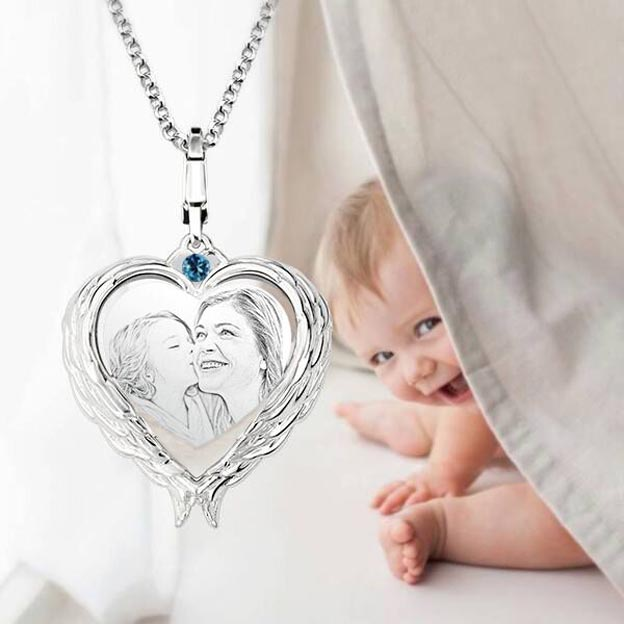 Personalized Engraved Photo Birthstone Heart Necklace Love Wings